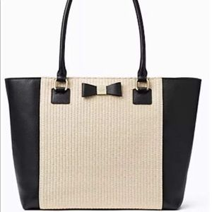 KATE SPADE STRAW WITH BLACK LEATHER TRIM TOTE